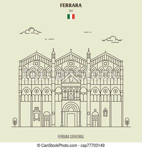 ferrara, italy., ランドマーク, アイコン, 大聖堂 - csp77703149