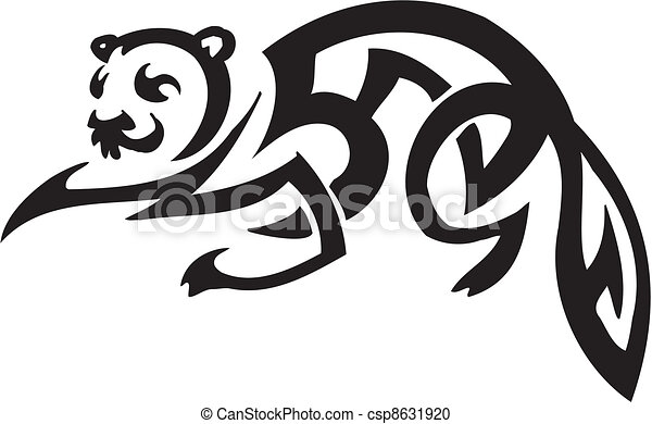 ferret in tribal style - vector illustration - csp8631920