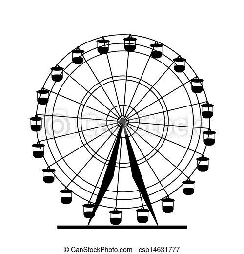 ferris, vecteur, silhouette, wheel., illustration., coloré, atraktsion - csp14631777