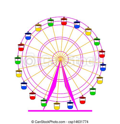ferris, wektor, sylwetka, wheel., illustration., barwny, atraktsion - csp14631774