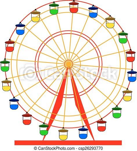ferris, wektor, sylwetka, wheel., illustratio, barwny, atraktsion - csp26293770