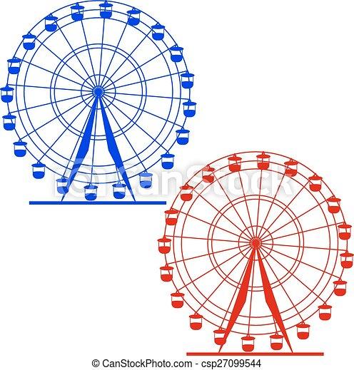 ferris, wektor, sylwetka, wheel., illustratio, barwny, atraktsion - csp27099544