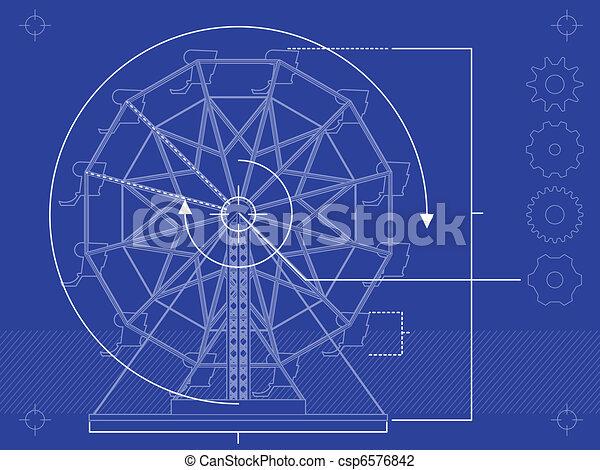 Ferris wheel blueprint blueprint style rendering of a vector blueprint style rendering of a ferris wheel malvernweather Gallery