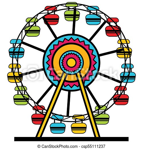 Ferris wheel cartoon icon. An image of a colorful ferris ...