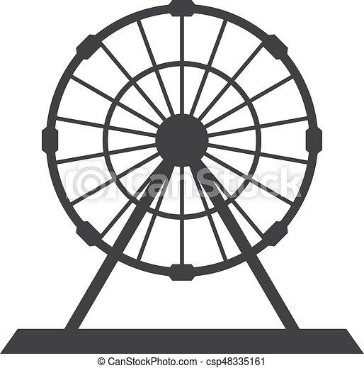 ferris wheel icon in black on a white background vector clip art rh canstockphoto com wheel clipart outline wheel clipart outline