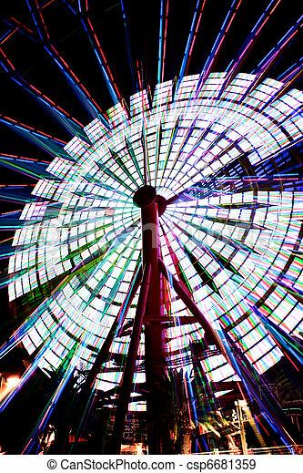 Ferris Wheel in Kobe Japan spinning 2 - csp6681359