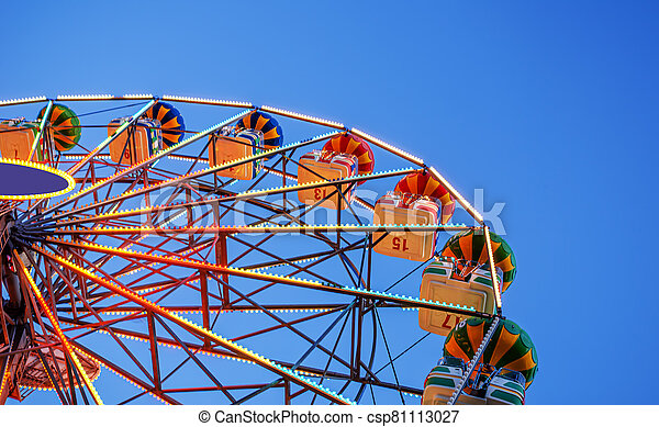Ferris wheel on a background of sky. - csp81113027