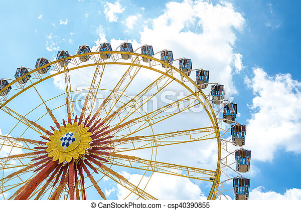 Ferris wheel on the background of blue sky - csp40390855