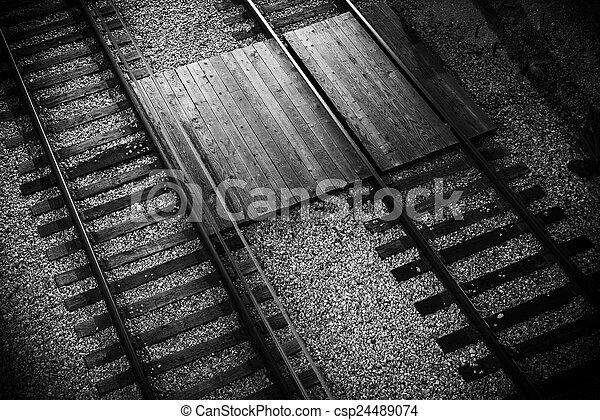 El primer plano del ferrocarril - csp24489074