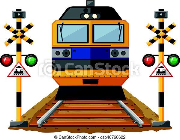 Tren en el ferrocarril - csp46766622
