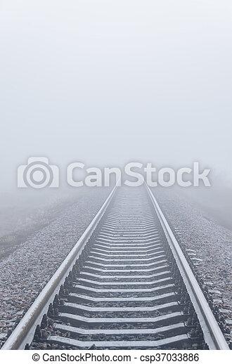 ferrovia, nebbia, orizzonte, va - csp37033886
