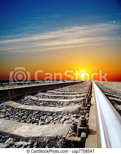 ferrovia, pôr do sol - csp7758547