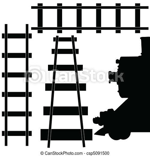 ferrovia, trem, ilustração - csp5091500