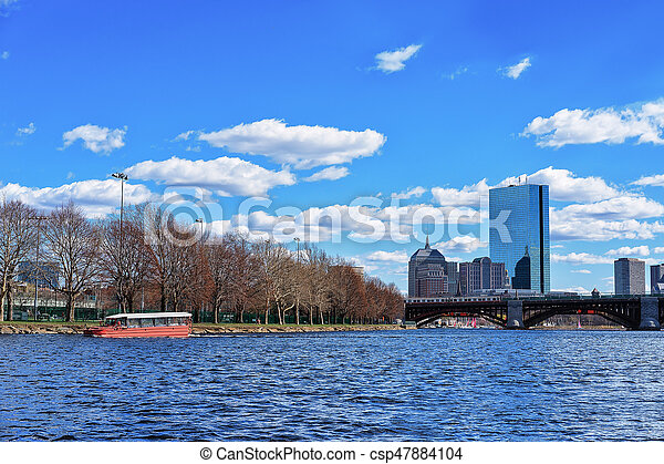 Ferry at Charles River Boston MA - csp47884104