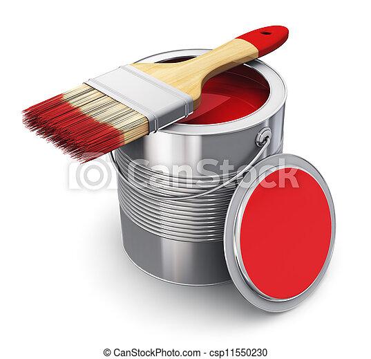 festék befőz, ecset, piros - csp11550230