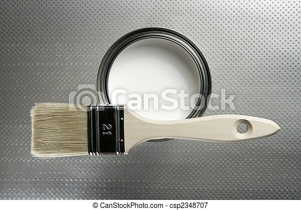 festék konzerv, fehér, ecset, szobafestő - csp2348707