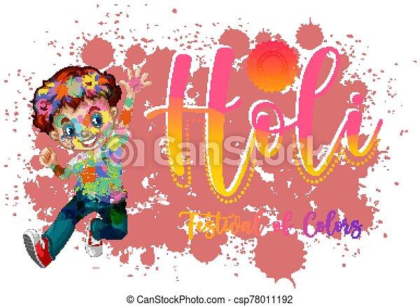 fest, bunte, glücklich, design, plakat, hintergrund, holi - csp78011192