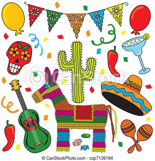 festa, arte, fiesta, clip, messicano - csp7139184