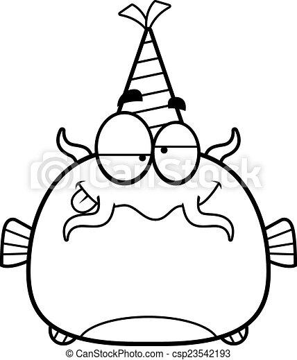Festa Cartone Animato Pesce Gatto Ubriaco Illustrazione Dall