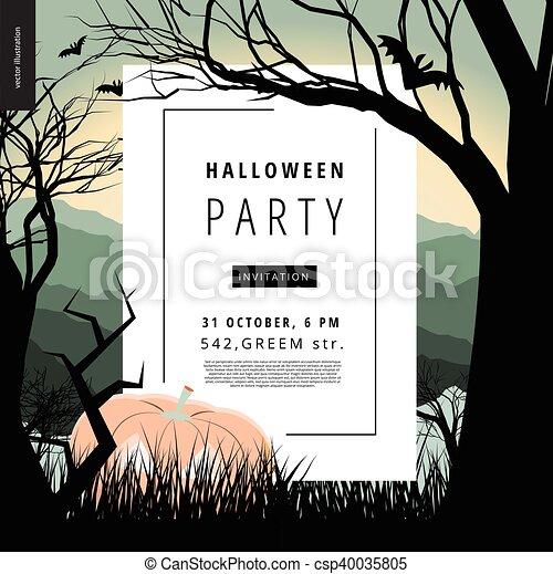 festa, illustarted, halloween, avviso, manifesto - csp40035805