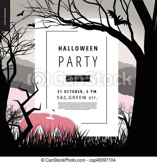 festa, illustarted, halloween, avviso, manifesto - csp40097104