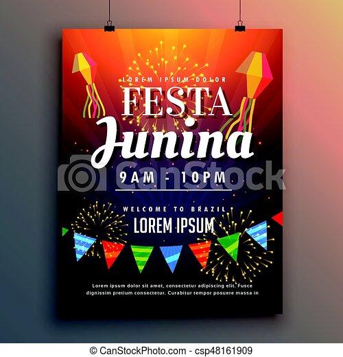 festa junina party invitation flyer design with fireworks csp48161909