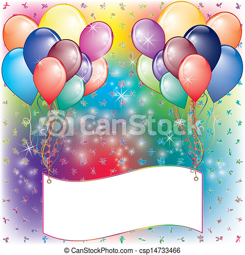 festa, palloni, scheda, invito - csp14733466