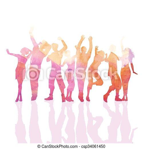 festa, watercolour, persone - csp34061450