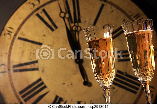 festeggiare, champagne, anni nuovi - csp2913014