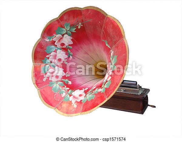 festett, antik, henger, gramofon, választékos - csp1571574