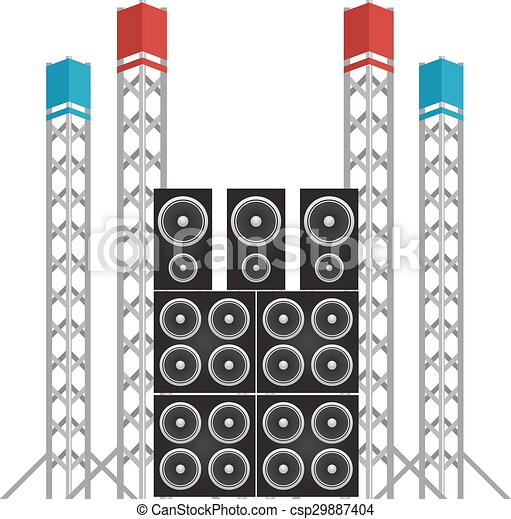 concert speakers clipart. festival and concert speakers plus light rigs - csp29887404 clipart b