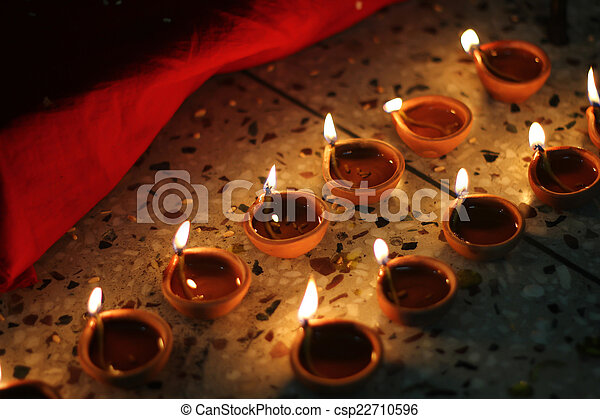 Festival Diwali Lampes Huile Huile Festival Serie Inde Lit