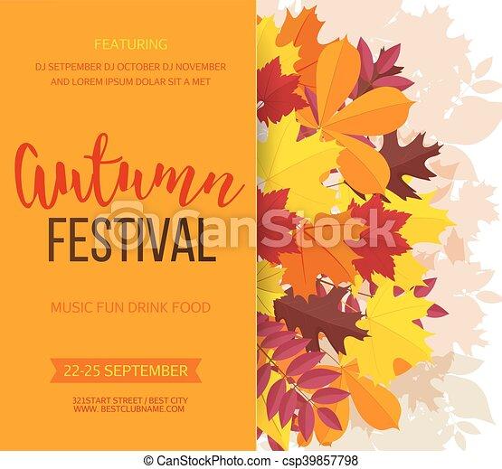 festival, invitation, leaves., illustration, automne, arrière-plan., vecteur, automne, bannière - csp39857798