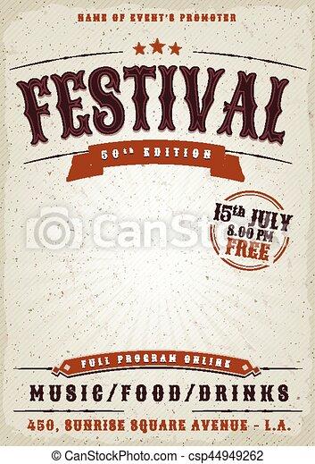 festival, musik, grunge, affisch - csp44949262