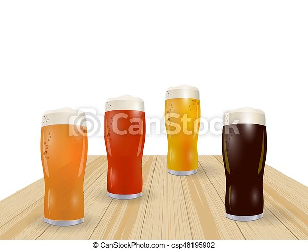 Festival of beer. Different types of beer in glasses. Grilled sausages, hot dog. illustration - csp48195902