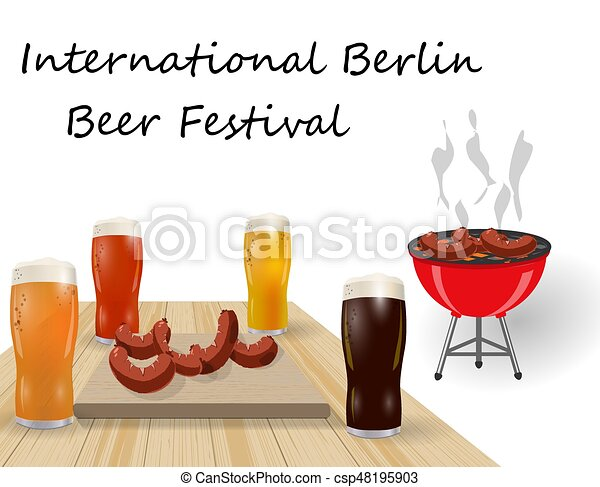 Festival of beer. Different types of beer in glasses. Barbecue and grilled dishes, sausages, hot dog. illustration - csp48195903