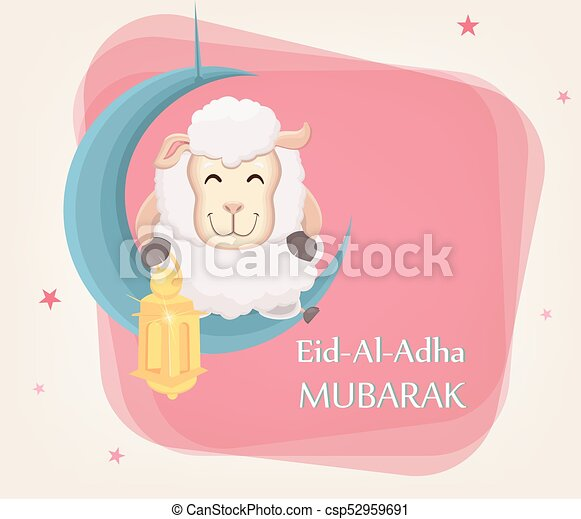 Festival of sacrifice Eid al-Adha. Traditional muslin holiday. Greeting card with funny sheep holding golden lantern and sitting on the moon. - csp52959691