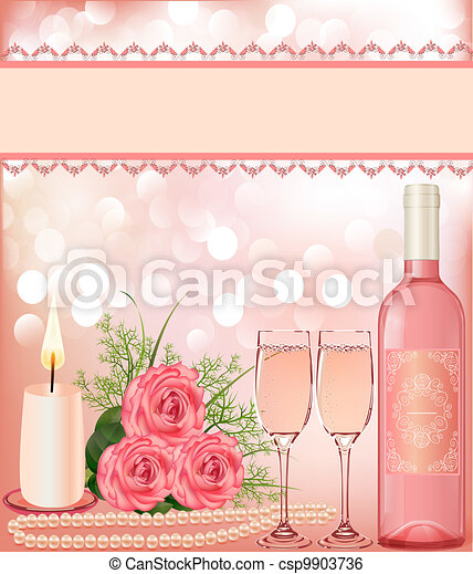 festive background with rose, pearl candle and goblet. - csp9903736