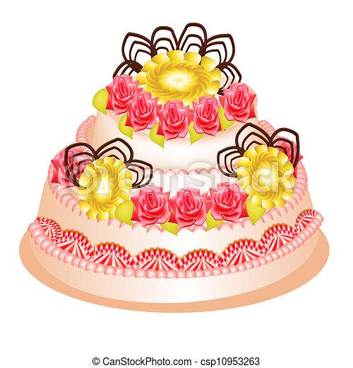 festive cake with cream flower on white - csp10953263