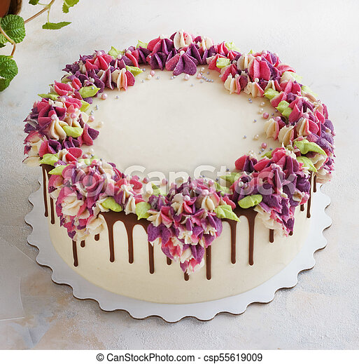 Onwijs Festive cake with cream flowers hydrangea on a light background. FQ-76