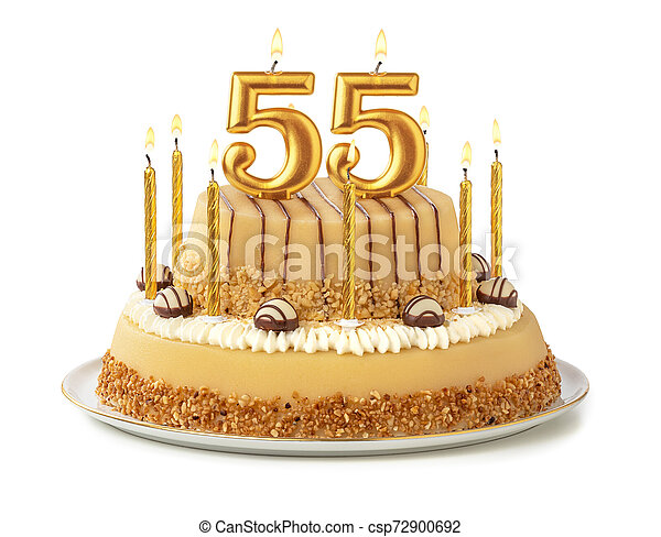 Admirable Festive Cake With Golden Candles Number 55 Personalised Birthday Cards Paralily Jamesorg