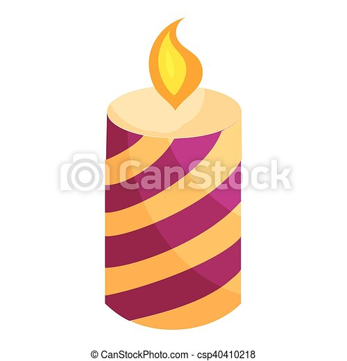 Festive candle icon, cartoon style - csp40410218