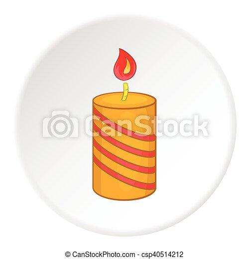 Festive candle icon, cartoon style - csp40514212