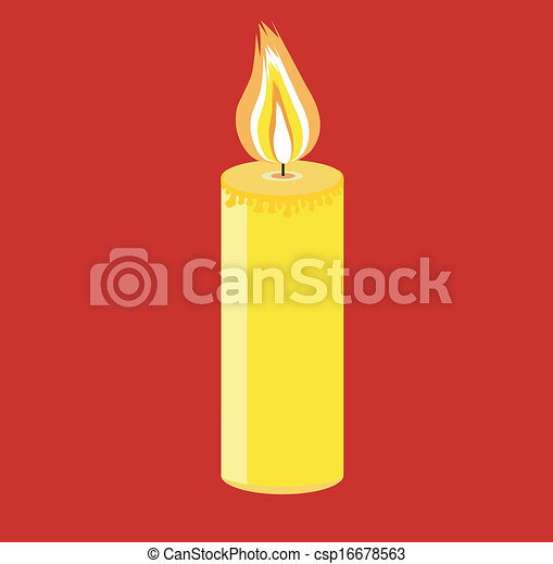 festive candle on a red background - csp16678563