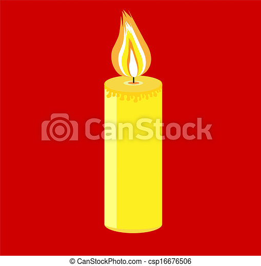 festive candle on a red background - csp16676506