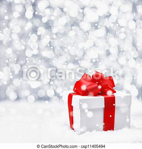 Festive Christmas gift in snow - csp11405494