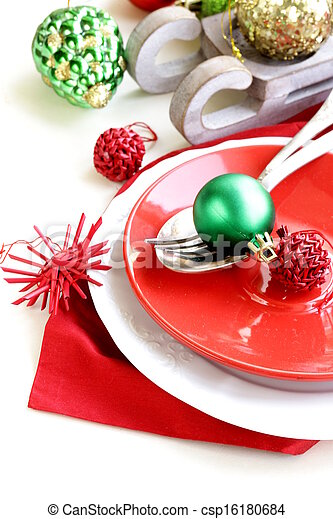 Festive Christmas table setting - csp16180684