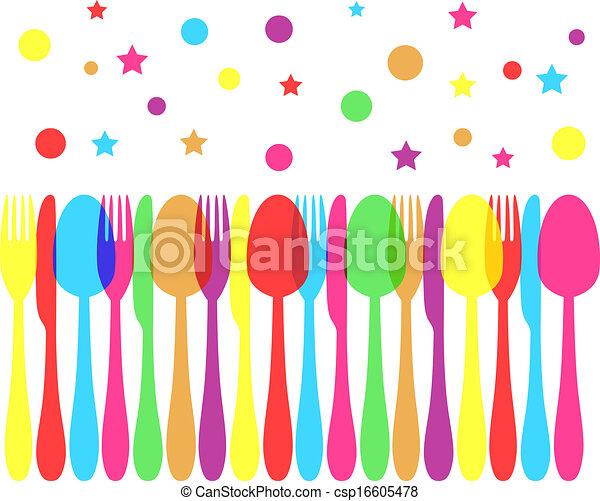 festive colored cutlery - csp16605478