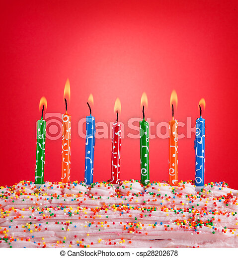 Festive concept. Happy birthday candles on red background. - csp28202678