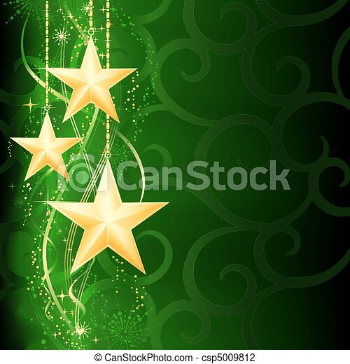Festive dark green Christmas background with golden stars, snow flakes and grunge elements.  - csp5009812